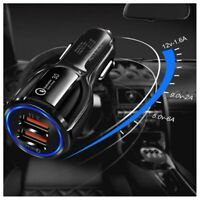 3A Fast Car Charger Qualcomm QC3.0 Certified Quick 2-USB Port Charge Dual 36W