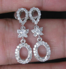 18K White Gold Natural Diamond Semi Mount Dangle Women Earrings Oval Cut 5×7mm