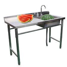 1 Compartment Stainless Steel Utility Sink Prep Sink Kitchen Sink W Drain Board
