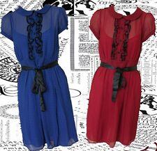 SIZE14 TEA DRESS 40's LANDGIRL WARTIME VINTAGE STYLE BLUE CHECK ~ US 10 EU 42