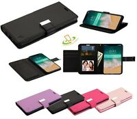 For Apple iPhone Xs Max XR Card Holder Leather Wallet Flip Dual Phone Case Cover