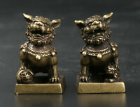 31MM Curio China Bronze Foo Fu Dog Guardion Lion Pair Small Seal Signet Statue