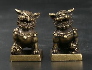 31MM Curio China Bronze Foo Fu Dog Guardion Lion Pair Small Seal Signet Statue