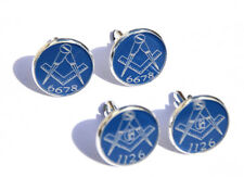 More details for masonic freemason cufflinks gift personalised with own lodge number in blue