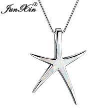 Starfish Blue Fire Opal Ocean Theme Pendant Necklace 925 Silver Wedding Jewelry