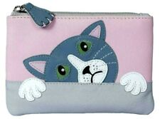 Cat Purse Ladies Small Pink Grey Soft Leather Cats RFID Coin Money Pouch Girls