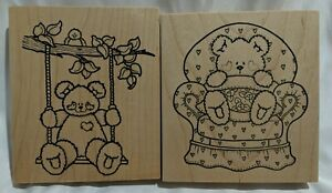 LOT of 2 ~ Teddy Bears ~ Darcies Country Folk Wood Mount Stamps ~ Tree Swing