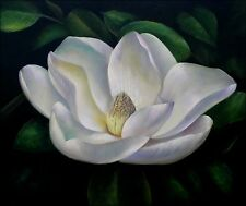 Giant Single White Magnolia Quality Hand Painted Oil Painting 20x24in