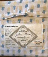 Indigo Cabana Queen Sheet Set White With Pineapples All Cotton Oeko Tex Organic