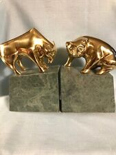Wall Street Bull And Bear Bookends Or Decor Brass & Marble By Decorative Crafts