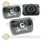 7x6 Diamond Cut Black Halogen Sealed Beam Headlights Housing Headlamps