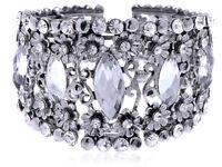 Antique Gift Metal Design Crystal Rhinestone Flower Fashion Cuff Bracelet Bangle