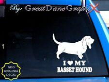 I Love My Basset Hound - Vinyl Decal Sticker / Color Choice - High Quality