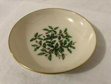 """Lenox Special Holiday Dish/Bowl Holly Berry Ivory w/Green Red & Gold Trim 5.5"""""""