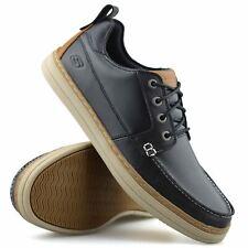 Mens Skechers Leather Memory Foam Casual Walking Boat Deck Moccasin Shoes Size