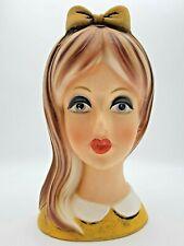 Vintage Napcoware 1950s Girl Teen Lady Head Planter Vase C-8494 Napco Yellow