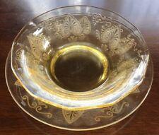 FOSTORIA Yellow TROJAN Topaz DEPRESSION Glass FINGER Bowl LINER Underplate SET