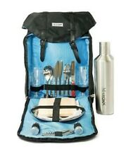 Maroxx Luxury Picnic Backpack for Two Insulated Black Nylon & Stainless Steel