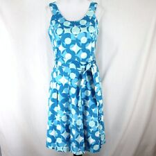 Calvin Klein Dress Sz 8 Blue White Dots Sleeveless Belt Pleated Fit and Flare
