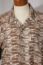 COLUMBIA Men's Size L Large Fish Print Short-Sleeve 100% Cotton Shirt w/Pocket