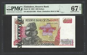 Zimbabwe 500 Dollars 2001 P10 Uncirculated Grade 67