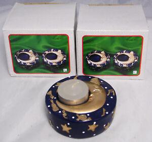 4 x Kerzenhalter Teelichthalter Teelicht Mond gold/blau 8 cm Durchmesser NEU