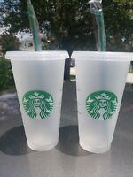 2x Starbucks Frost Reusable Cups Venti 24 oz Cold Drink W/Lids & Straws NEW