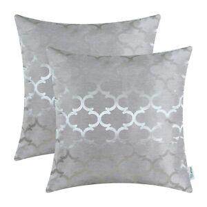 2Pcs Silver Gray Cushions Cover Pillow Cases Quatrefoil Accent Home Sofa 40x40cm