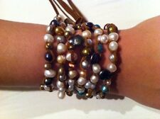 Sassy leather and pearl lariat necklace/bracelet