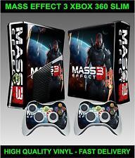 XBOX 360 Slim console ADESIVO SKIN massa Effetto 3 Style & 2 X CONTROLLER pelli
