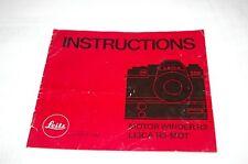 Authentique Original Leica Leitz Marque R3 Moteur Winder Instruction Manuel