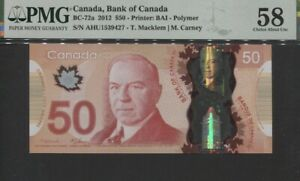 TT PK BC-72a 2012 CANADA BANK OF CANADA 50 DOLLARS PMG 58 CHOICE ABOUT UNC!