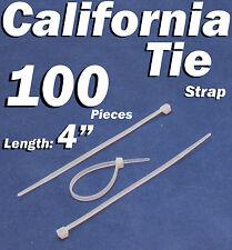 """100 X pcs White 4"""" Tie Cord Strap 100mm Network Nylon Plastic Cable Wire Zip"""