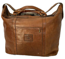 Rare Vintage Authentic Brown Leather Duffle Overnight Weekend Bag Made in Italy