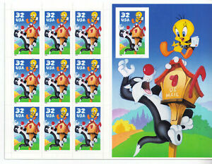 US SCOTT #3204 Booklet Pane SYLVESTER AND TWEETY 32 CENT MNH, 1996