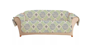 Medallion Printed Sofa Furniture Protector Cover Sure Fit Blue Green - Open Box