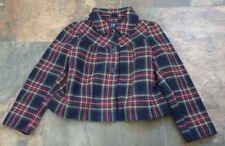 NEW Sz M 8 Gap Kids Holiday Plaid Coat Jacket Navy Blue Red Yellow White Green