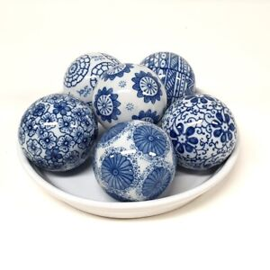 6x Hamptons Style Blue And White Decorator Floral Ceramic Balls 7cm Round Orbs
