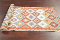 Diamond Shape Geometric Oriental Turkish Kilim Runner Rug Hand-Woven 3x10 Carpet
