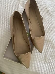 Witchery leather rose gold flats  Sz 41 Rrp $129