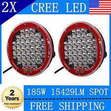 2X 9inch 185W CREE LED Round Work Light Spot Driving Head Light offroad 4WD Red