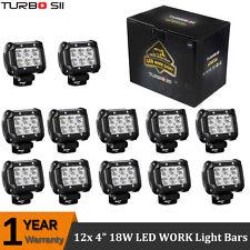 12x 4inch 18W Cree Spot LED Work Light Bar Pods Offroad Driving Lamp 4WD SUV UTV