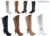 NEW Dress Mid-Calf Knee High Platform Round Toe Lace up Zipper Boots Size