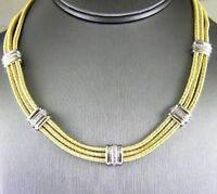Round Diamond 3 Layer Wire Cluster Collar Necklace 18K Yellow Gold 1.00Ct