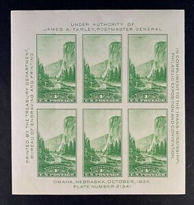 US Stamps, Scott #751 1934 Souvenir sheet 1c pane of 6 VF M/NH. Fresh
