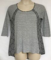 Women Maurices Size L Top Knit Feel & Silky Floral Sides & Back Top Cotton Blend