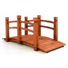 Holzbrücke mit Geländer begehbar Teichbrücke Gartenbrücke Holz rot braun Steg