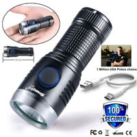 Mini Pocket USB Rechargeable XPE Tactical Military LED Flashlight Torch Lamp AU
