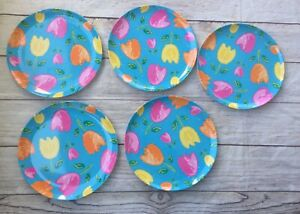 Pier 1 Imports Melamine Plates Teal With Colorful Tulips Floral Set Of 5