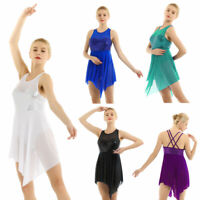 Women Adult Lyrical Dance Costume Sequin Cross Back Ballet Leotard Skating Dress